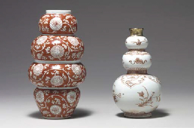 TWO GOURD-SHAPED VASES