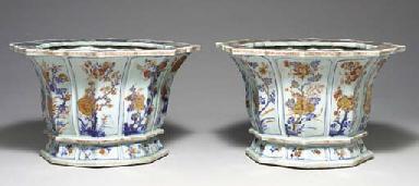 TWO CHINESE IMARI JARDINIERES