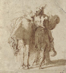 A man leaning against a laden