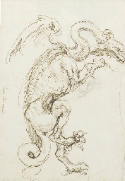 A standing dragon in profile t