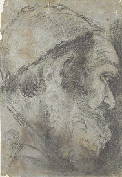 Head of a bearded man in a cap