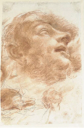 Head of a man looking up, in p