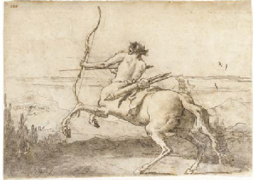 A centaur drawing a bow in a l