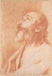 The prophet Isaiah looking up,