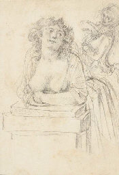 A bare-breasted woman leaning