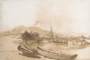 The Bay of Naples with boats i