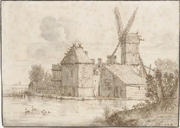 A farmstead with a windmill by