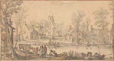 A village on a river, figures