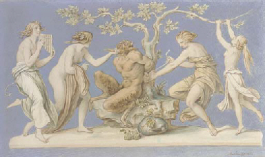 Four nymphs tying Pan to a tre