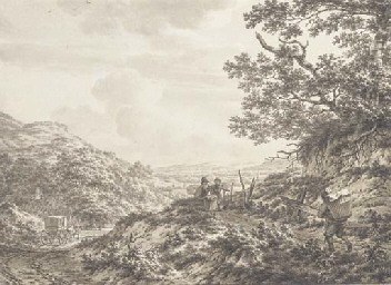 An extensive hilly landscape w