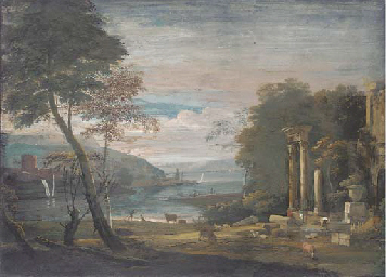 An estuary with ruins in the f