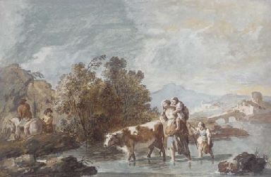 A family crossing a stream wit