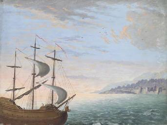 A three-masted ship sailing ne