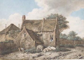A Dutch farmhouse with pigs