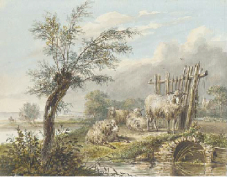 Four sheep by a stream in an e