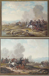 A cavalry battle by a river; a