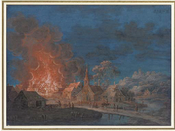 A village on fire by moonlight
