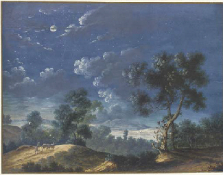 A moonlit landscape with a fig