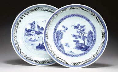 TWO BLUE AND WHITE RETICULATED