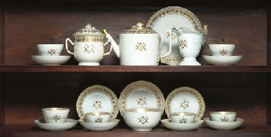 A MASONIC PART TEA SERVICE