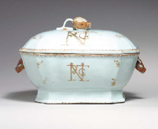 AN INITIALLED TUREEN AND COVER