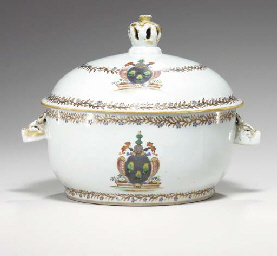 AN ARMORIAL TUREEN AND COVER