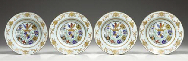 A SET OF FOUR ARMORIAL SOUP PL