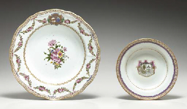 TWO ARMORIAL DISHES