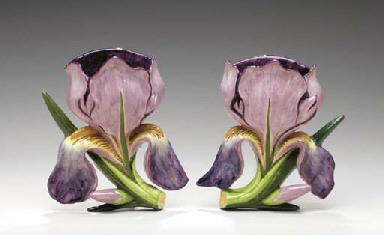 A PAIR OF FRENCH MAJOLICA IRIS