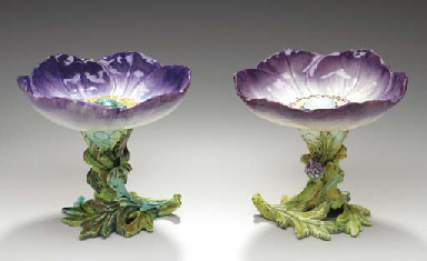 TWO FRENCH MAJOLICA FLOWER-FOR
