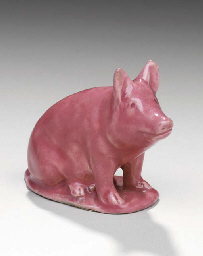 A FRENCH MAJOLICA MODEL OF A P