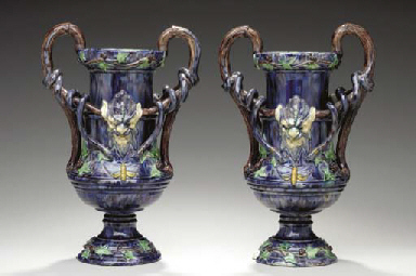 A PAIR OF FRENCH PALISSY STYLE