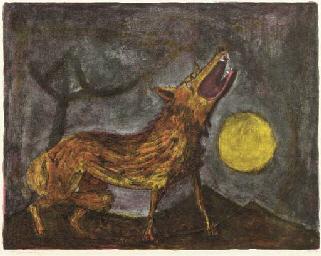 Perro aullando a la luna
