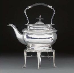 An Edwardian Silver Kettle-on-