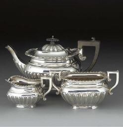 A Three-Piece Edwardian Silver