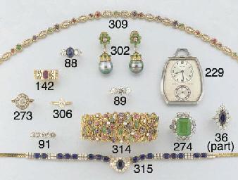 A diamond and gem necklace,