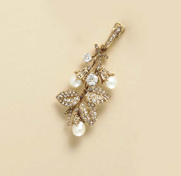 A DIAMOND, CULTURED PEARL AND