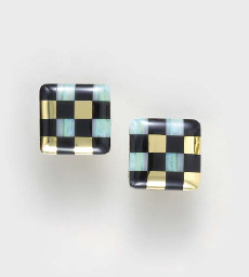 A PAIR OF OPAL, ONYX AND 18K G
