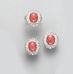 **A CORAL, DIAMOND AND 14K WHI