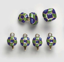 A BLUE AND GREEN ENAMEL AND GO