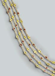 TWO YELLOW SAPPHIRE, RUBY AND