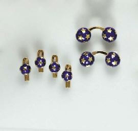 A BLUE ENAMEL AND 18K GOLD DRE