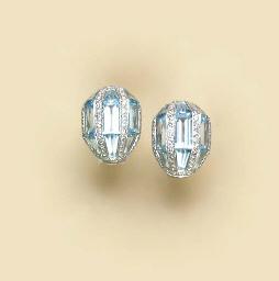 A PAIR OF BLUE TOPAZ, DIAMOND