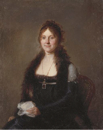 Portrait of a lady, seated, in
