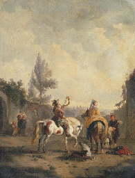 Hunters resting in a village