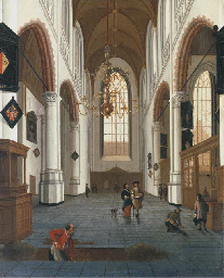 The Oude Kerk in Delft with a