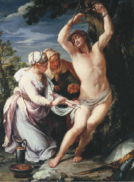 Saint Sebastian tended by Sain