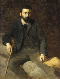 Portrait of a man seated holdi