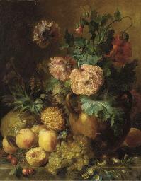 Peaches, grapes, a melon, and