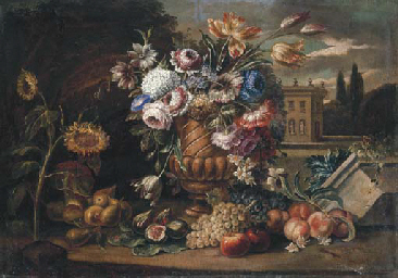 Flowers in an urn with fruit,